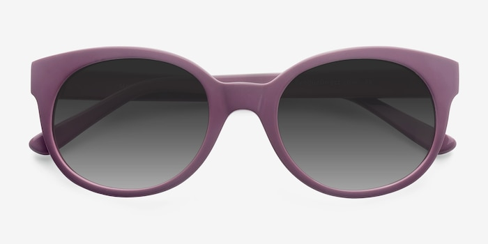 Matilda Purple Acetate Sunglass Frames from EyeBuyDirect, Closed View