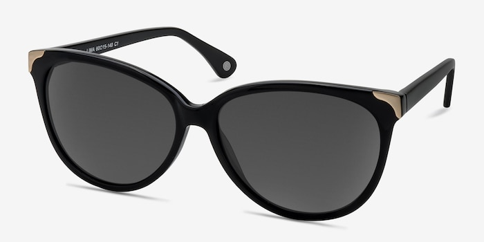 Lima Black Acetate Sunglass Frames from EyeBuyDirect, Angle View