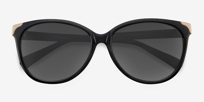Lima Black Acetate Sunglass Frames from EyeBuyDirect, Closed View