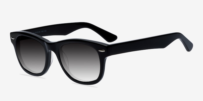 Hanoi Black Acetate Sunglass Frames from EyeBuyDirect, Angle View