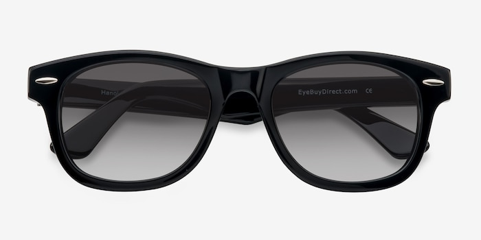 Hanoi Black Acetate Sunglass Frames from EyeBuyDirect, Closed View