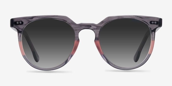 Shadow Granite & Rose Acetate Sunglass Frames from EyeBuyDirect, Front View