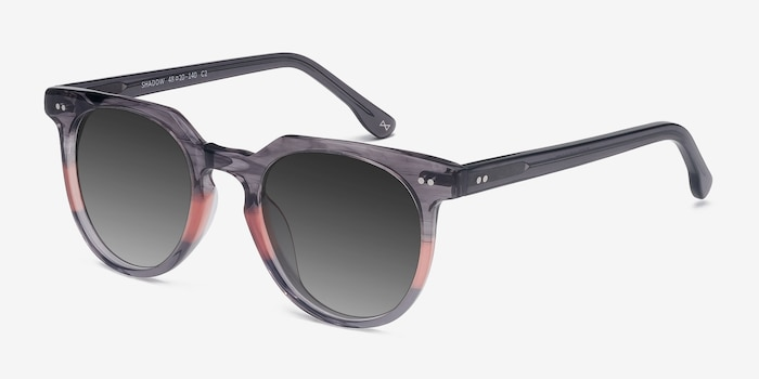 Shadow Granite & Rose Acetate Sunglass Frames from EyeBuyDirect, Angle View