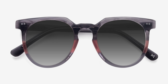 Shadow Granite & Rose Acetate Sunglass Frames from EyeBuyDirect, Closed View