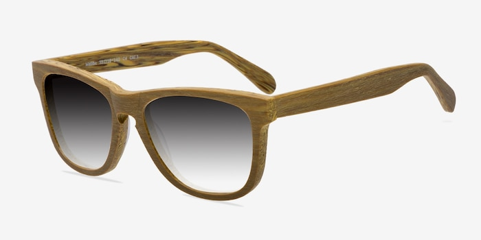 Malibu Yellow Wood-texture Sunglass Frames from EyeBuyDirect, Angle View