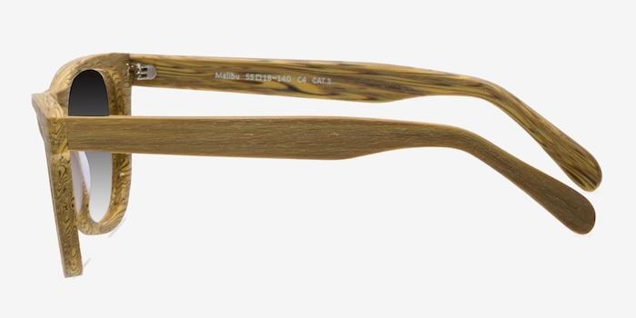 Malibu Yellow Wood-texture Sunglass Frames from EyeBuyDirect, Side View