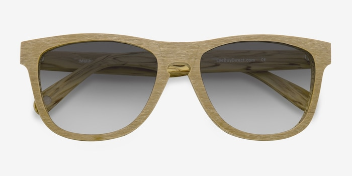 Malibu Yellow Wood-texture Sunglass Frames from EyeBuyDirect, Closed View