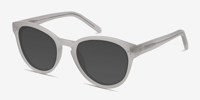 Augustine White Clear Acetate Sunglass Frames from EyeBuyDirect, Angle View