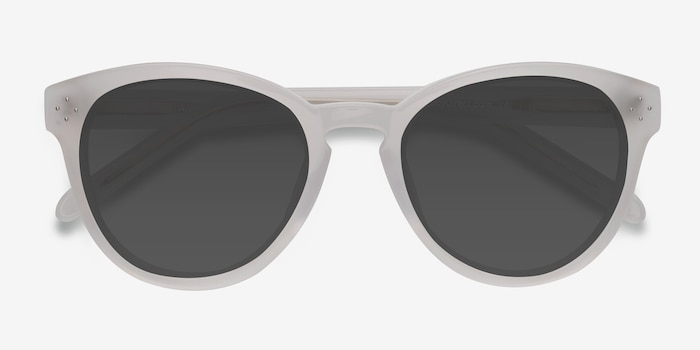 Augustine White Clear Acetate Sunglass Frames from EyeBuyDirect, Closed View