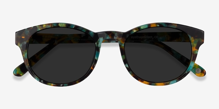 Coppola Green Tortoise Acetate Sunglass Frames from EyeBuyDirect, Closed View