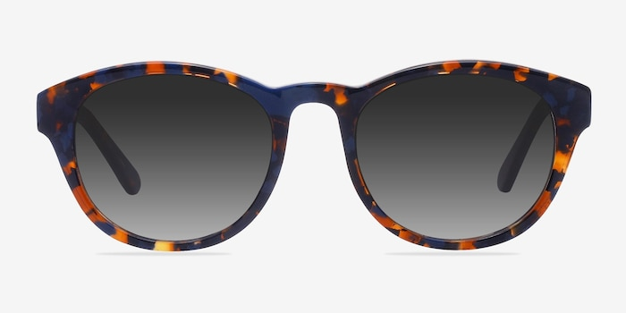 Coppola Blue Floral Acetate Sunglass Frames from EyeBuyDirect, Front View