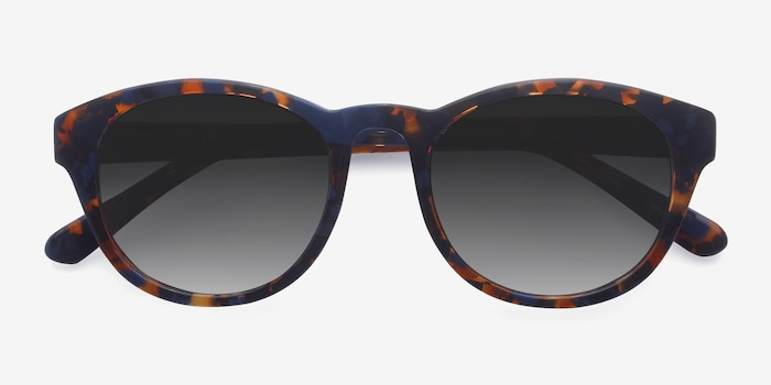 Coppola Blue Floral Acetate Sunglass Frames from EyeBuyDirect, Closed View