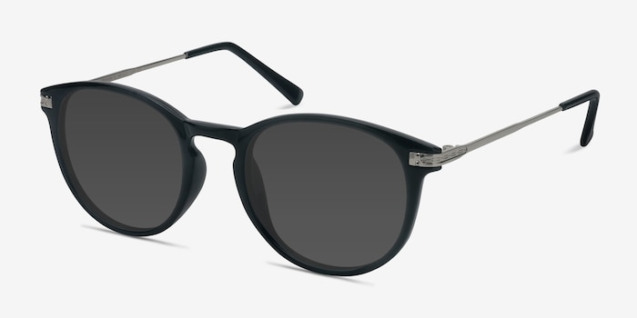 Monroe Black Metal Sunglass Frames from EyeBuyDirect, Angle View