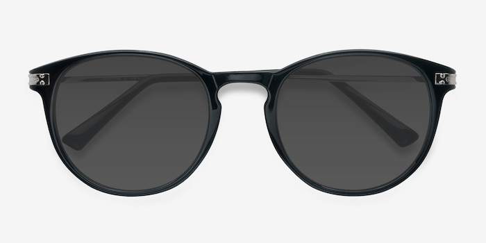 Monroe Black Metal Sunglass Frames from EyeBuyDirect, Closed View