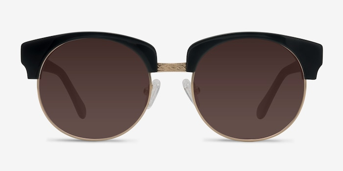 Simone  Black  Acetate Sunglass Frames from EyeBuyDirect, Front View