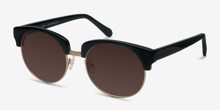 Simone  Black  Acetate Sunglass Frames from EyeBuyDirect, Angle View
