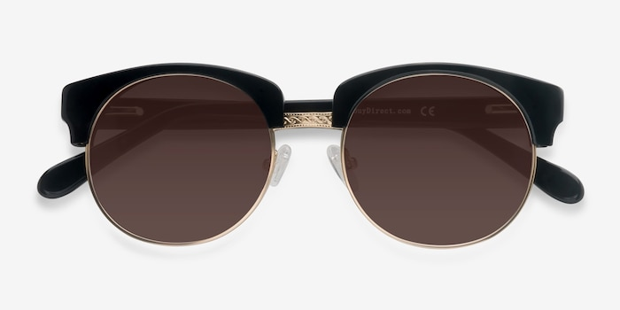 Simone  Black  Acetate Sunglass Frames from EyeBuyDirect, Closed View