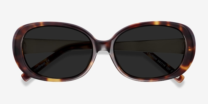 Lauren Tortoise Acetate Sunglass Frames from EyeBuyDirect, Closed View