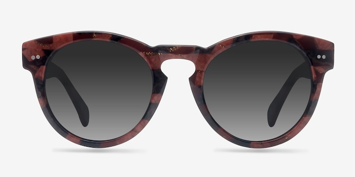 Penelope Red Floral Acetate Sunglass Frames from EyeBuyDirect, Front View