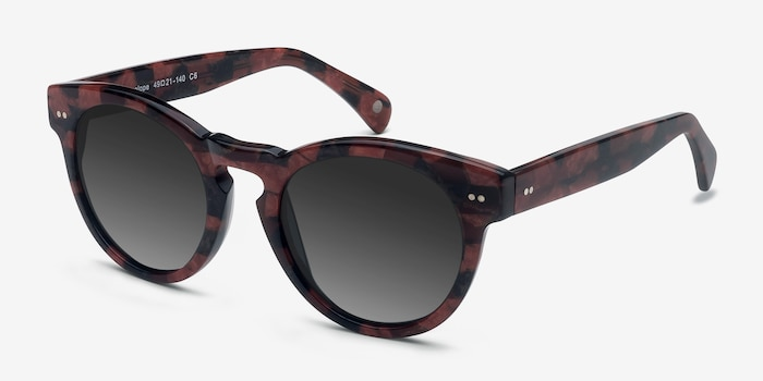 Penelope Red Floral Acetate Sunglass Frames from EyeBuyDirect, Angle View