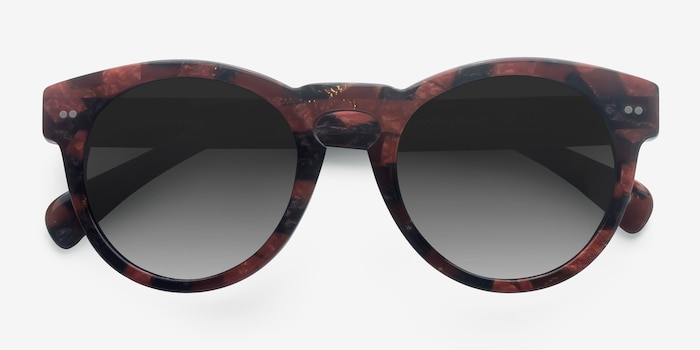 Penelope Red Floral Acetate Sunglass Frames from EyeBuyDirect, Closed View