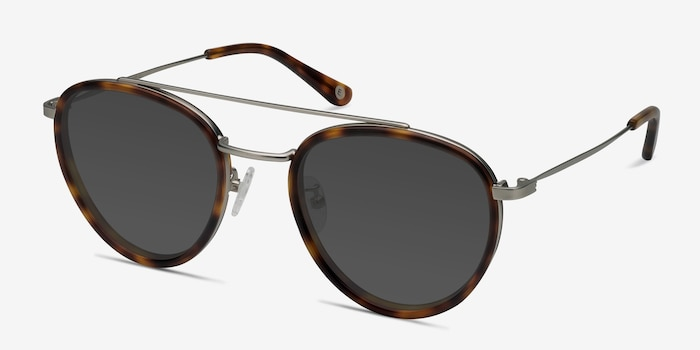 Brookline Tortoise Acetate Sunglass Frames from EyeBuyDirect, Angle View