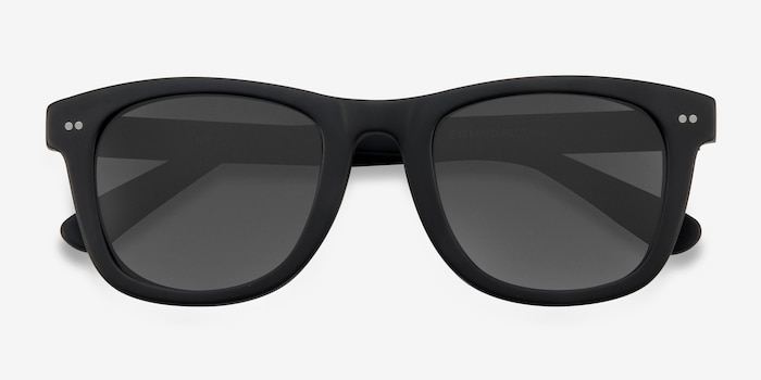 Nevada Matte Black Acétate Soleil de Lunettes d'EyeBuyDirect, Vue Rapprochée