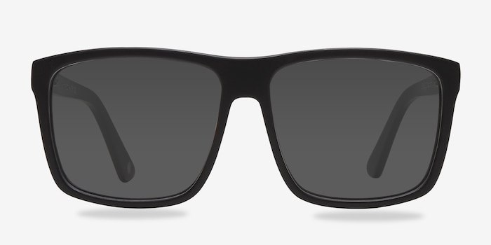 Perth Matte Black Acetate Sunglass Frames from EyeBuyDirect, Front View