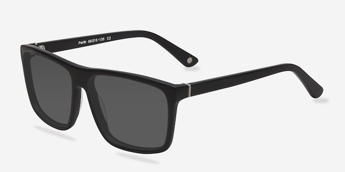 Perth Matte Black Acetate Sunglass Frames from EyeBuyDirect, Angle View