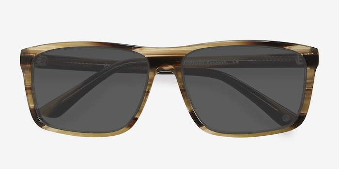 Perth Brown Acetate Sunglass Frames from EyeBuyDirect, Closed View