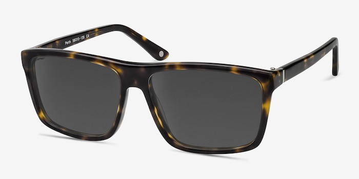 Perth Tortoise Acetate Sunglass Frames from EyeBuyDirect, Angle View