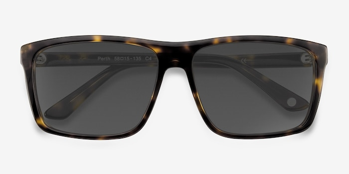 Perth Tortoise Acetate Sunglass Frames from EyeBuyDirect, Closed View