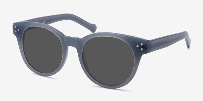 Minuit Blue Acetate Sunglass Frames from EyeBuyDirect, Angle View