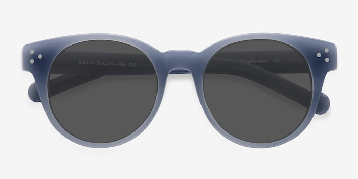 Minuit Blue Acetate Sunglass Frames from EyeBuyDirect, Closed View