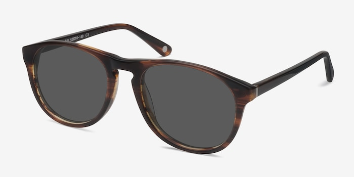 Silt Brown Acetate Sunglass Frames from EyeBuyDirect, Angle View