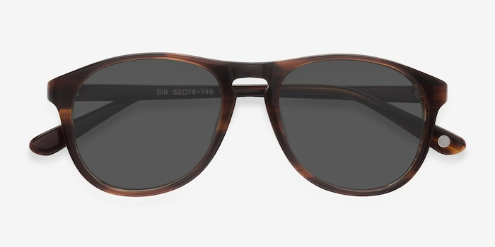 Silt Brown Acetate Sunglass Frames from EyeBuyDirect, Closed View