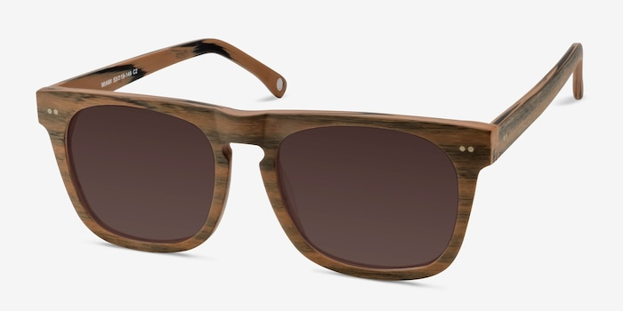 Miami Brown Wood-texture Sunglass Frames from EyeBuyDirect, Angle View