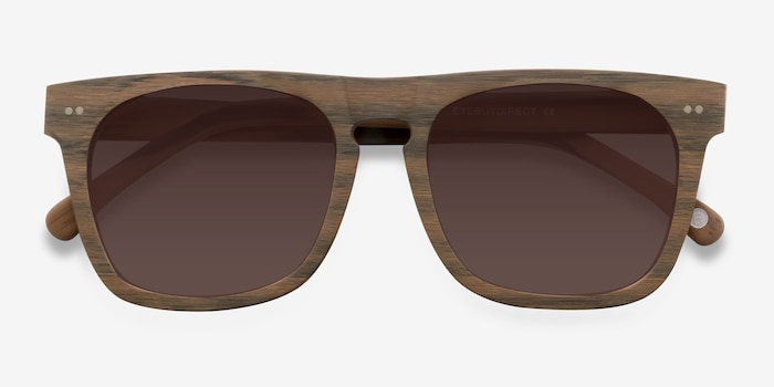 Miami Brown Wood-texture Sunglass Frames from EyeBuyDirect, Closed View
