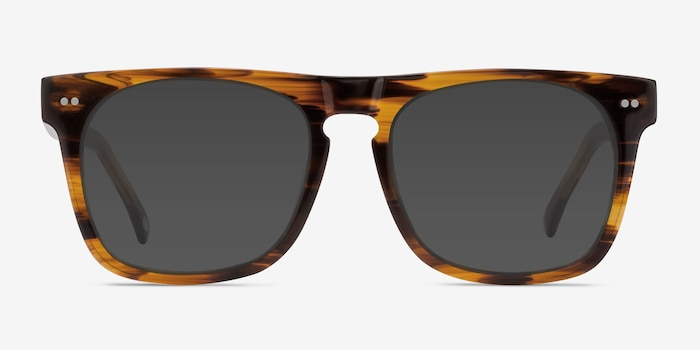 Miami Brown Striped Acetate Sunglass Frames from EyeBuyDirect, Front View