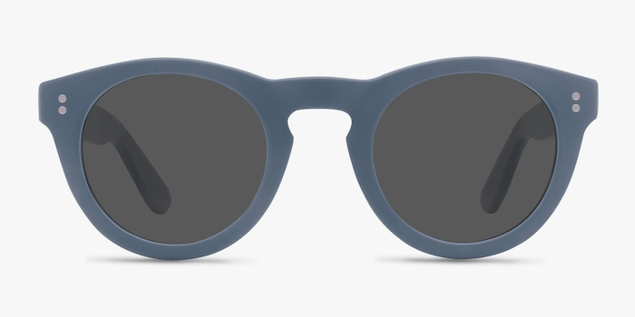 Ibiza Matte Blue Acetate Sunglass Frames from EyeBuyDirect, Front View