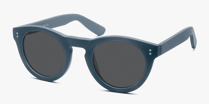 Ibiza Matte Blue Acetate Sunglass Frames from EyeBuyDirect, Angle View