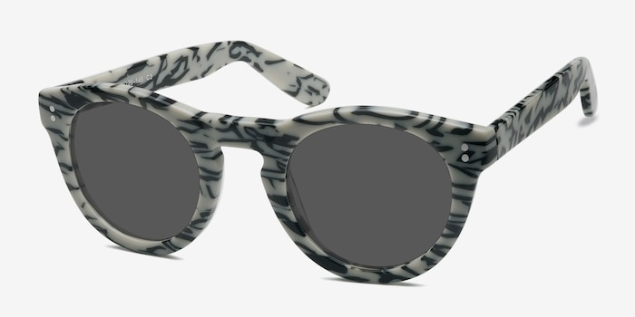 Ibiza White Black Acetate Sunglass Frames from EyeBuyDirect, Angle View