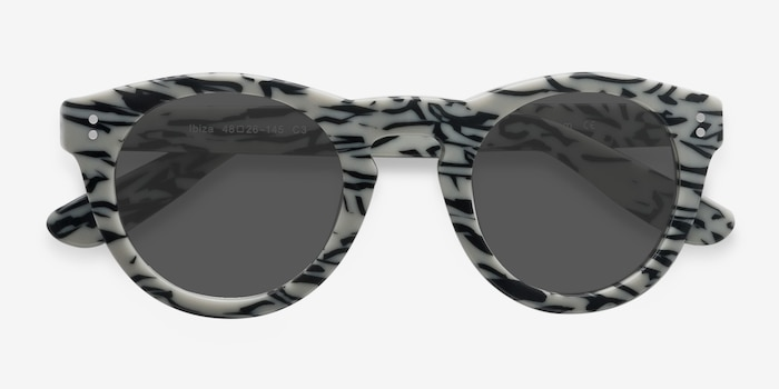 Ibiza White Black Acetate Sunglass Frames from EyeBuyDirect, Closed View