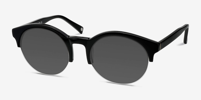 Verona Black Acetate Sunglass Frames from EyeBuyDirect, Angle View