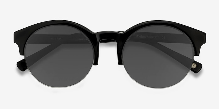 Verona Black Acetate Sunglass Frames from EyeBuyDirect, Closed View