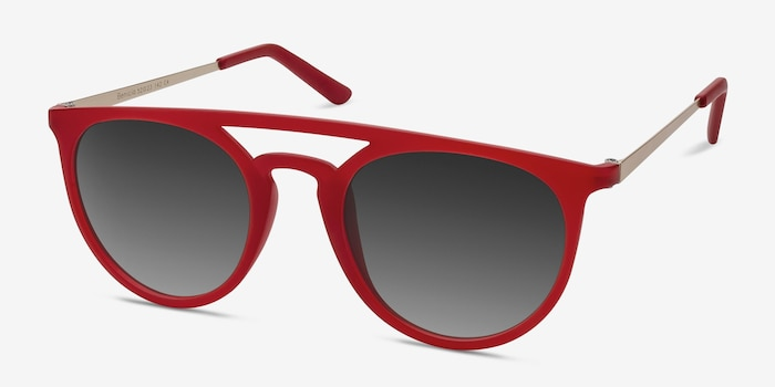 Benicia Scarlet Plastic Sunglass Frames from EyeBuyDirect, Angle View