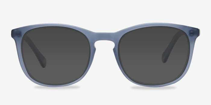 Audio Matte Navy Acetate Sunglass Frames from EyeBuyDirect, Front View