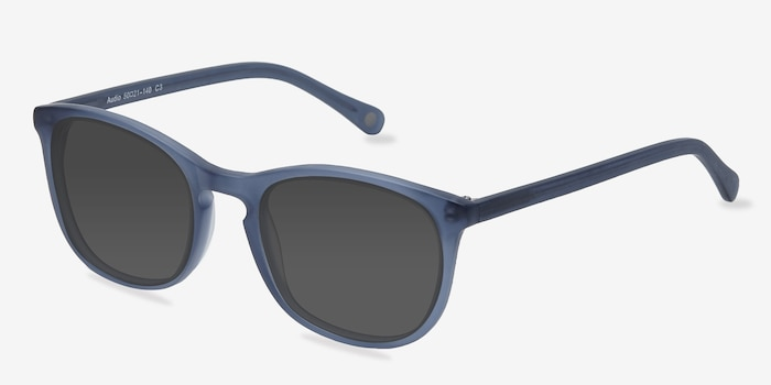 Audio Matte Navy Acetate Sunglass Frames from EyeBuyDirect, Angle View