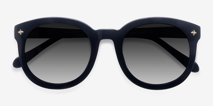 Paige Black Acetate Sunglass Frames from EyeBuyDirect, Closed View
