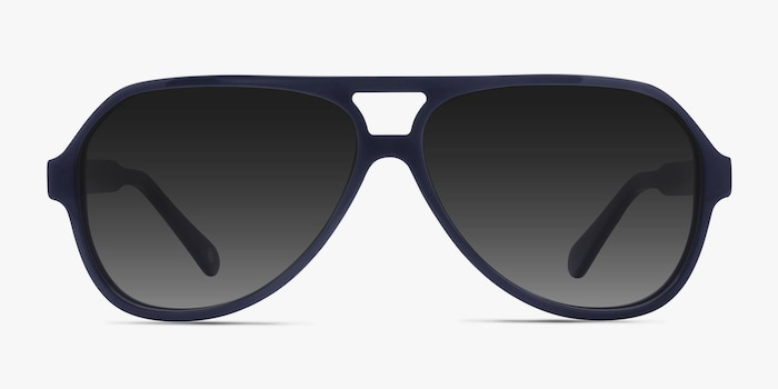 Americana Navy Acetate Sunglass Frames from EyeBuyDirect, Front View